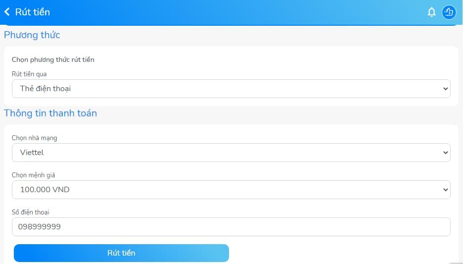 Chọn thông tin thanh toán với app golike
