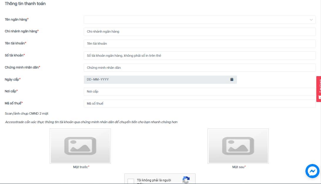 Cập nhật thông tin ngân hàng trong accesstrade