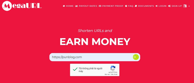 Rút gọn link kiếm tiền với MEGAURL