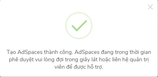 Tạo thành công adspace