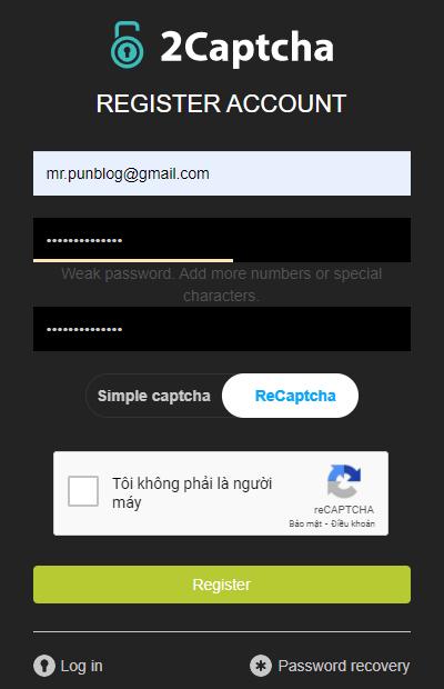 Nhập thông tin đăng ký 2Captcha