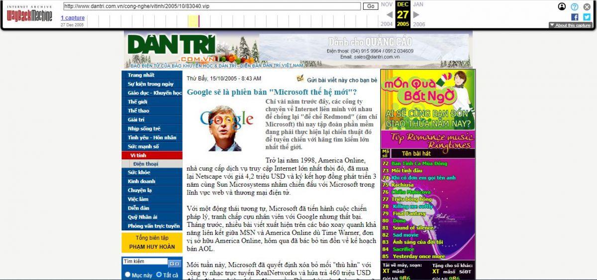 Báo dân trí ngày 15/10/2005