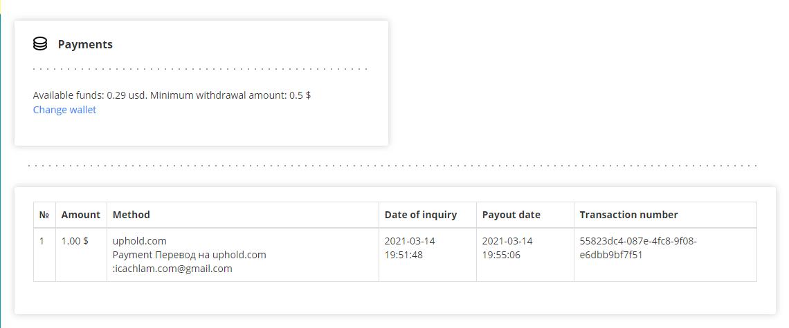 Rút tiền về ví Uphold
