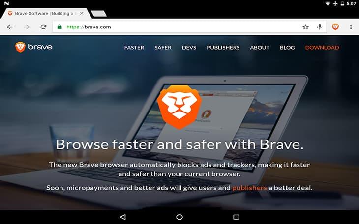 Brave load web nhanh