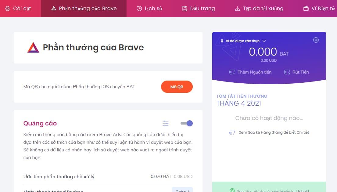 Khả năng kiếm tiền với Brave